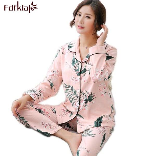 Fdfklak M L XL 3XL 4XL Plus Size Autumn Winter Warm Pajamas For Women Cotton Pijama Set Family Pajama Set Pyjamas Sleepwear Q471