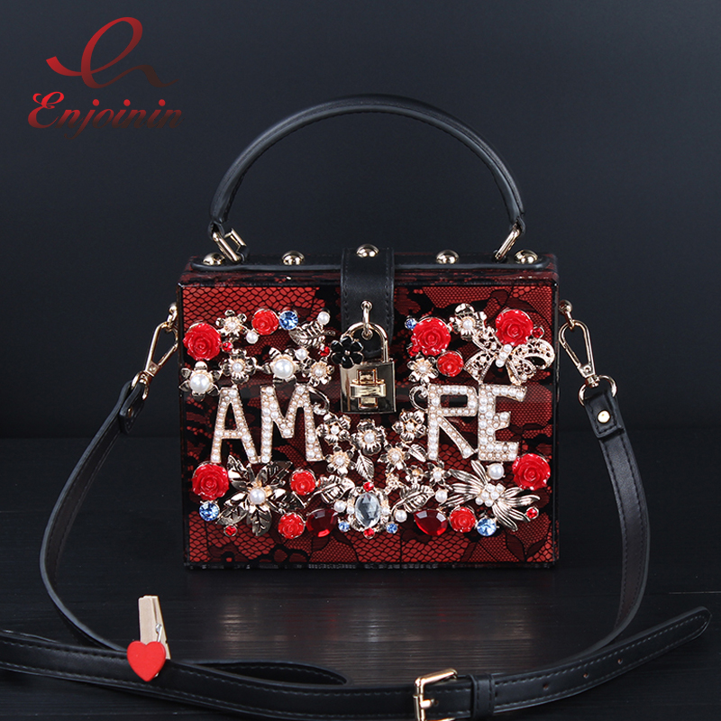 Luxury fashion design diamond flowers hollow acrylic pearl lace ladies mini shoulder bag handbag totes messenger bag purse partyLuxury fashion design diamond flowers hollow acrylic pearl lace ladies mini shoulder bag handbag totes messenger bag purse party