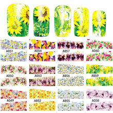 1 Sheet Colorful Water Transfer Tattoo Nail Art Sticker Beauty Spring Summer Flowers Maple Leaf Decals Decorations A049-061