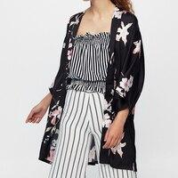 Floral Printed Bohemian Sexy Kimono Blouse Female 2017 Summer Open Blouses Fashion Elegant Boho Shirts Kimonos