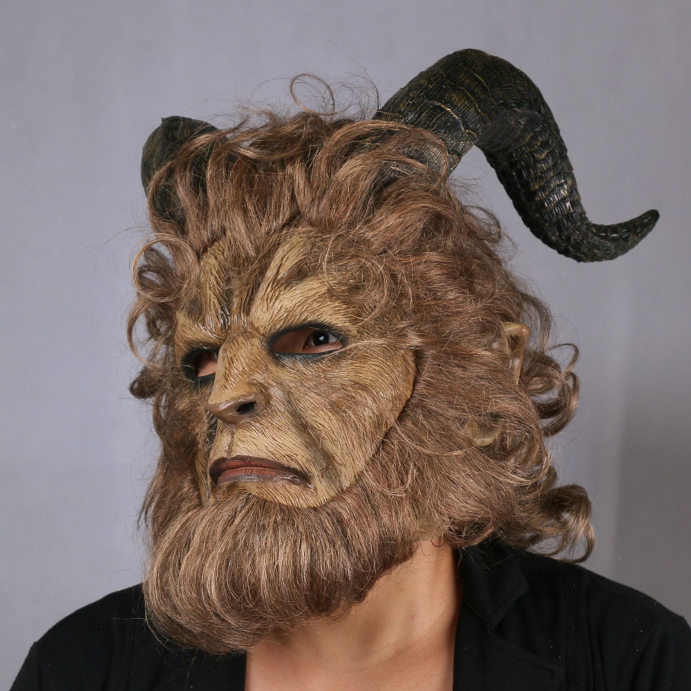 2017 Hot Movie Beauty and the Beast Adam Prince Mask Cosplay Horror Mask Latex Lion Helmet Halloween Party (17)