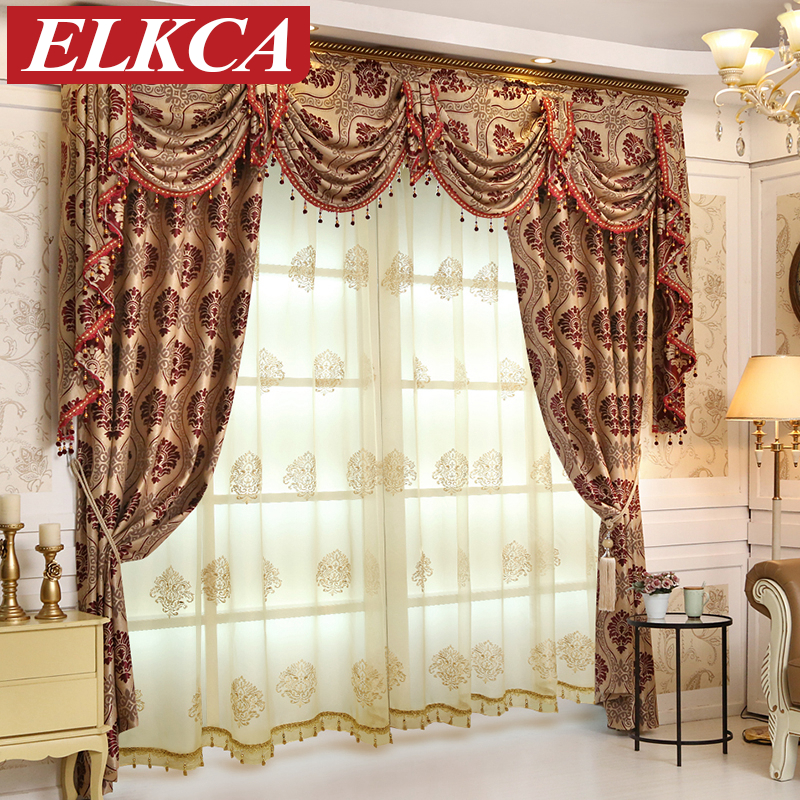 European Luxury Jacquard Blackout Curtains For Bedroom