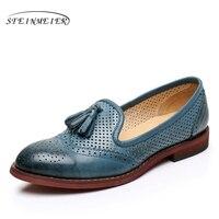 2016 Genuine Leather Big Woman Size 8 Designer Vintage Flat Shoes Round Toe Handmade Beige Blue