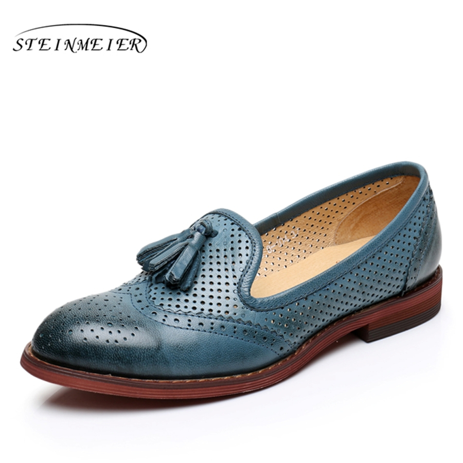 Genuine leather woman size 9 designer yinzo vintage flat shoes round toe handmade beige blue oxford shoes for women 2017 genuine leather woman size 9 designer yinzo vintage flat shoes round toe handmade black grey oxford shoes for women 2017