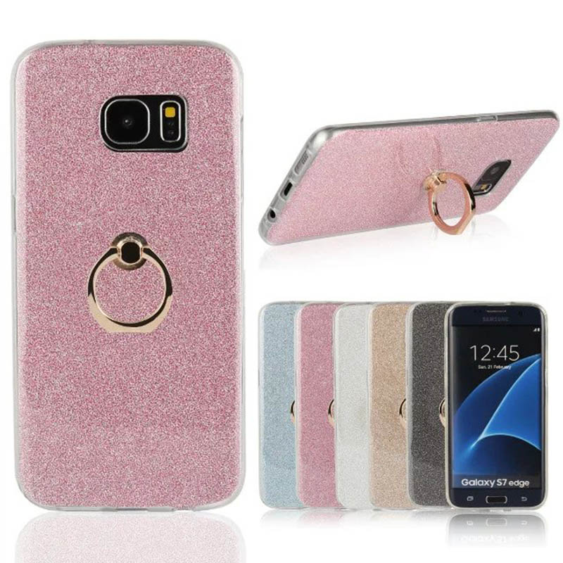 Glitter Finger Ring Soft Tpu Phone Case For Samsung Galaxy