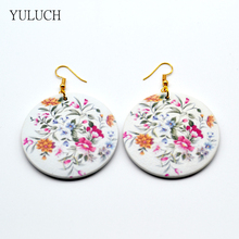 YULUCH 1 Pair New Design Earring Good Quality Wood Print Flower Earrings Latest Round Woman Earring  MS fashion Eardrop
