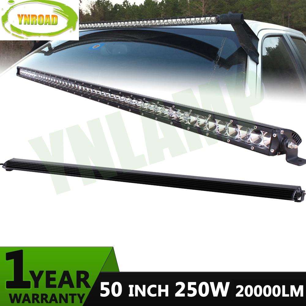 YNROAD 250w 50 palcový jednořadý LED světelný sloupek 50x5W pracovní světlo pro lov v terénu pro osvětlení terénu / záplavy 5W leds10V- 30V