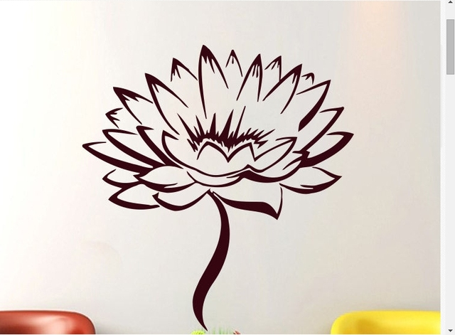 Lotus Dinding Vinyl Decal Pola Bunga Teratai Yoga Studio Meditasi