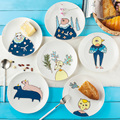 8 Inch   Western Style Tableware Household Ceramic Children Cartoon Plate Dessert Breakfast Dish Fruit Steak Plate