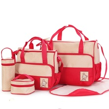 5Pcs/Set Fashion Diaper Bag Mummy Stroller Bag Large Capacity Handbag Nappy Changing Pad for Baby Care with 8 Colors