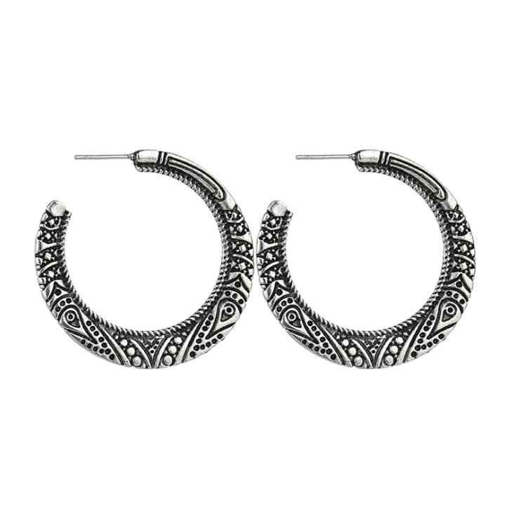 2018 New High Quality Vintage Ancient Silver Hoop Earrings For Women Flower Statement Pendant Earring Party Accessories Gifts