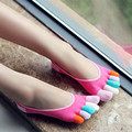 Summer Style Thin Cotton Women Toe Socks Colorful Silicone Deodorant Ankle Calsetines Five Finger Summer Dress Boat Socks
