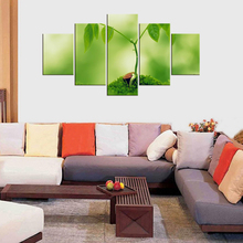5 Pieces leaf tree Small saplings Star red Wall Vintage Oil Painting Prints on Canvas Landscape Pictures Home Decor Framd