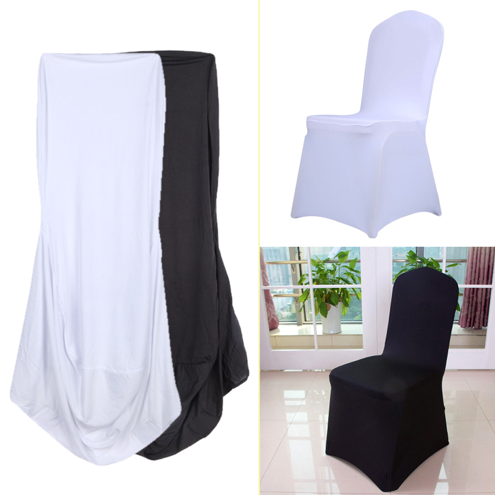 1pcs font b White b font Black Universal Stretch Polyester Party Wedding font b Chair b