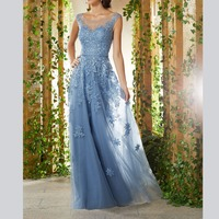 Gorgeous Scoop Tulle Appliques Backless Women's Dresses mother of the bride dresses plus size
