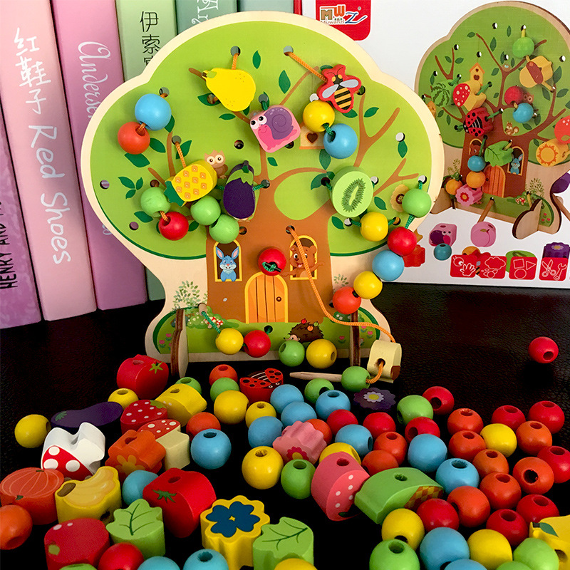 Baru Unisex Kids Wooden Toys Montessori Colorful Tree Wooden Beads Fruit Animal Learning Kids Gift Educational children