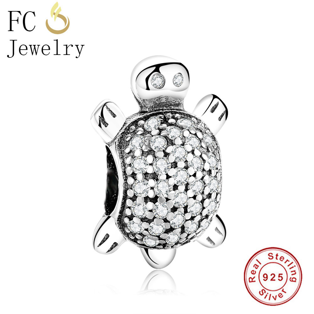 FC Jewelry 925 Sterling Silver European Animal Sea Turtle Beads Fit Original Pandora Charms Bracelet For Women DIY Berloque Gift
