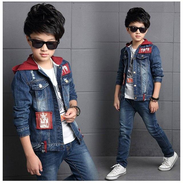 90627bdaab63 Blue Color Denim Clothing Sets Kids Boys Tracksuits Hooded F Suit 2PCS Baby  Boy Clothes Spring Autumn Children Casual Set