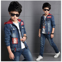 Blue Color Denim Clothing Sets Kids Boys Tracksuits Hooded F Suit 2PCS Baby Boy Clothes Spring Autumn Children Casual Set