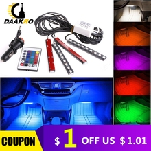 4pcs 5050 9 LED Remote Control Cigarette Lighter Colorful RGB Car Interior Floor Atmosphere Light Strip Double-side Adhesive Tap