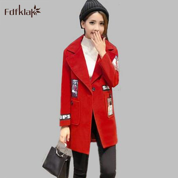 2017 New winter long coats for women coat female print long-sleeve autumn winter wool blend woolen jacket A348