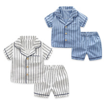 цена на Summer Baby Boys 2-Piece Clothing Sets Cotton Short-sleeved White and Blue Striped Shirt + Shorts Kids Sets For 2-7 Years Old