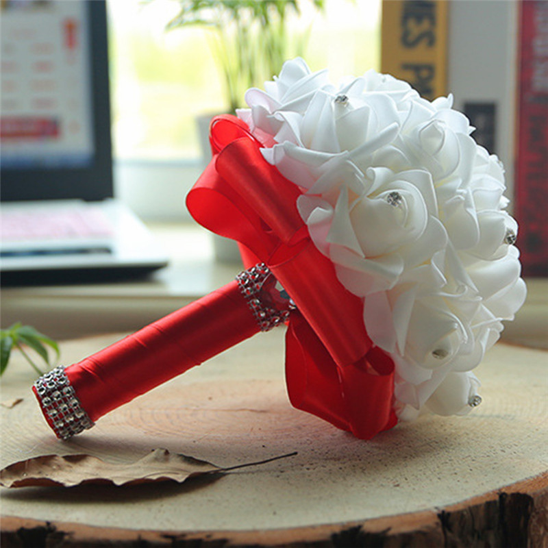 7 Colors Handmade Bridal Foam Roses Flower Hand Holding Bridal Flowers Bouquets Party Home Decor Wedding Supply