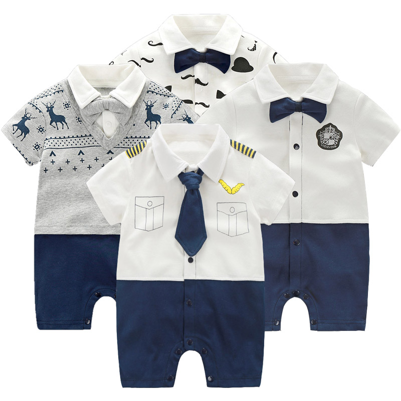 Newborn Clothing Baby Boy Clothes Bow Tie Baby Jumpsuits Roupas Bebe Little Gentleman Baby Boy Rompers 1 Year Birthday Gift baby rompers summer baby boy clothes gentleman newborn baby clothes infant jumpsuits roupas bebe baby boy clothing kids clothes