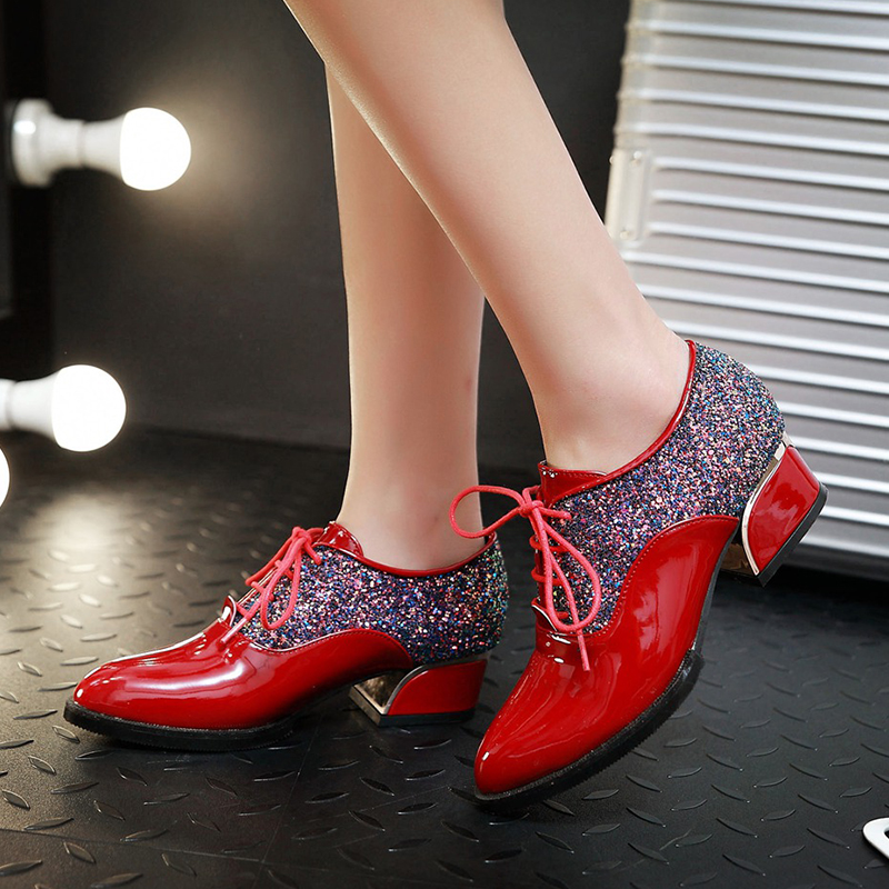 Rimocy Spring Autumn Ladies Oxford Shoes Patent Leather Pointed Toe Pumps Lace Up Glitter Med Heels Dress Shoes Big Size 34-43 free shipping 2016 spring autumn pointed toe rhinestone med heels woman shoes big size40 21 42 43 nubuck leather pumps shoes