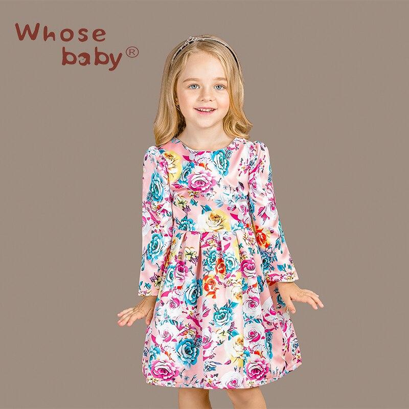 ФОТО Girl Long Sleeve Autumn Winter Infantil Floral Majalica Print Dress Princess Clothes Kids Christmas Clothing Vetement Vestido