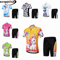 Weimostar Boy Girl Cycling Jersey Set Kids Full zipper Short Sleeve 3D Gel Shorts Bicycle Cycling Clothing Children Bike Jersey