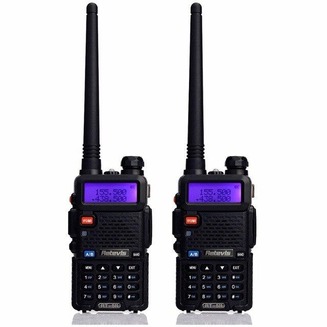 2 шт. Walkie Talkie Retevis RT-5R 5 Вт 128CH УВЧ + УКВ Радиолюбителей Кв Трансивер рации Два способ Радио Коммуникатор A7105A