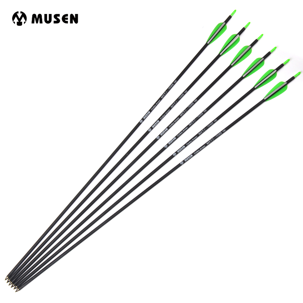 6/12/24pcs 30 Inches Carbon Arrows Spine 700 Diameter 7mm For Recurve Bow Archery Shooting Hunting
