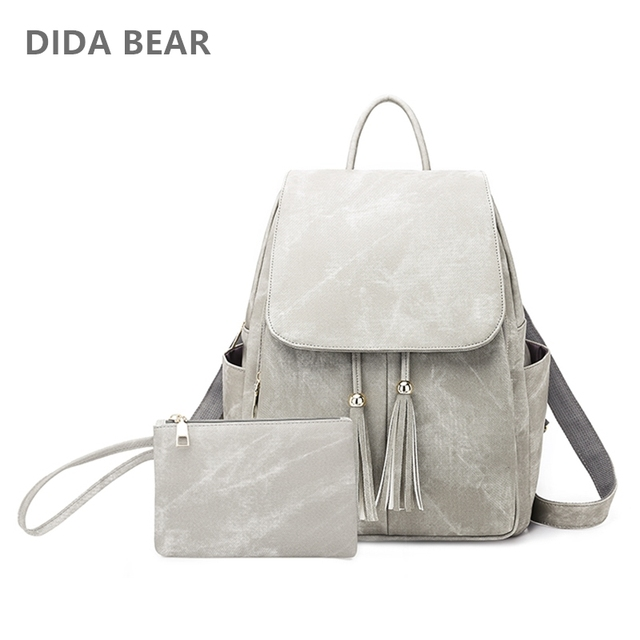 cc5bd3cbafaf DIDABEAR Fashion 2pcs Set Bag Women Leather Backpack School Backpacks For  Teenage Girls Female Tassel Rucksack Bolsas Mochilas