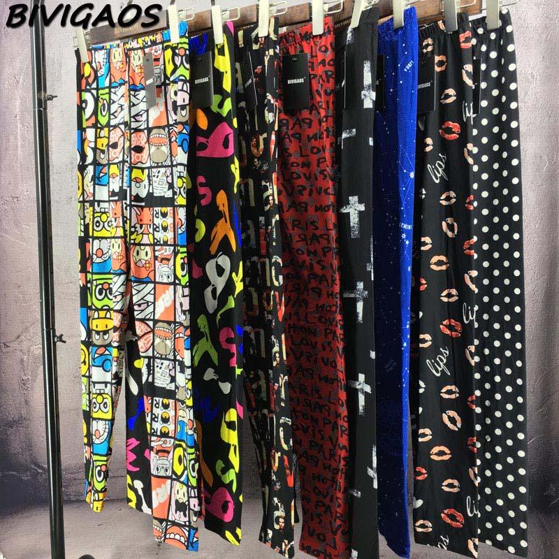 BIVIGAOS Spring Summer Womens Fashion Black Milk Thin Stretch leggings Colored Stars Graffiti Slim Skinny Leggings Pants Female 92