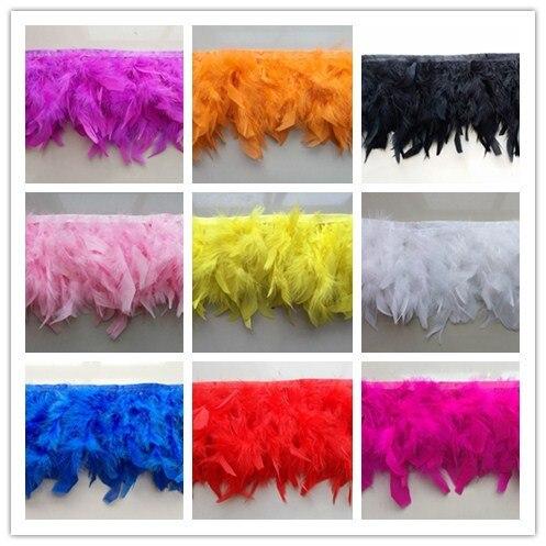 Venda quente de 5 metros bonito turquia pena aparar de penas fita 4-6 posada para fantasia de carnaval