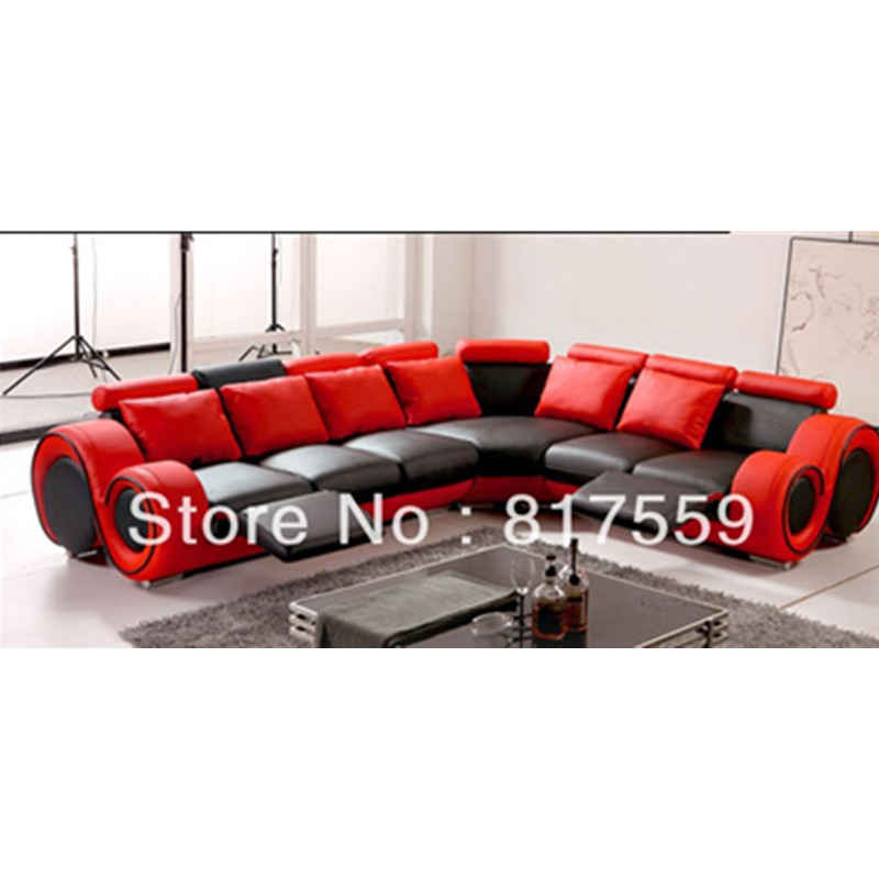 L Shape Red And Black Modern Sofa Set