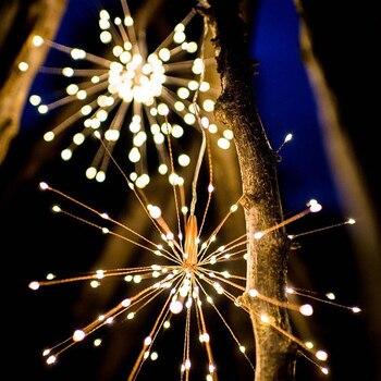 120Led 200 Led โคมไฟพลังงานแสงอาทิตย์ Starburst String ไฟทองแดงลวดแผงพลังงานแสงอาทิตย์ Powered Fairy DIY ดอกไม้ไฟ Xmas ระ
