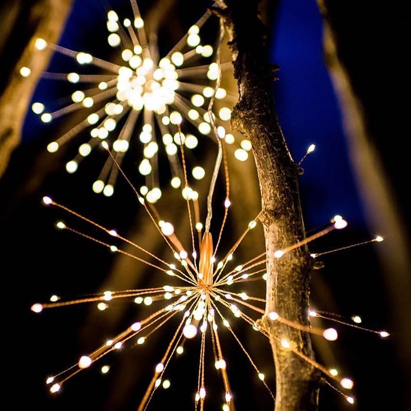 120Led 200 Led lámpara Solar Starburst String Luz de alambre de cobre Panel Solar hadas bricolaje fuego Navidad explosión boda Luz