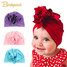 New Fashion Flower Babyhatt Nyfödda Elastic Baby Turbanhattar för Girls 10 Colors Cotton Infant Beanie Cap 1 PC
