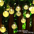 Solar Lamp 4.8M 20LEDs Crystal Ball Waterproof Outdoor solar led string Colorful Warm White fairy light Garden Decoration