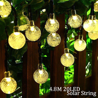 Solar Lamp 4 8M 20LEDs Crystal Ball Waterproof Outdoor Solar Led String Colorful Warm White Fairy