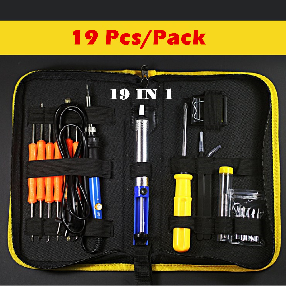 60W AC220/110V Adjustable Temperature Electric Soldering Iron Kit+6pcs Tips+Tweezers Solder Wire Portable Welding Repair Tool цена