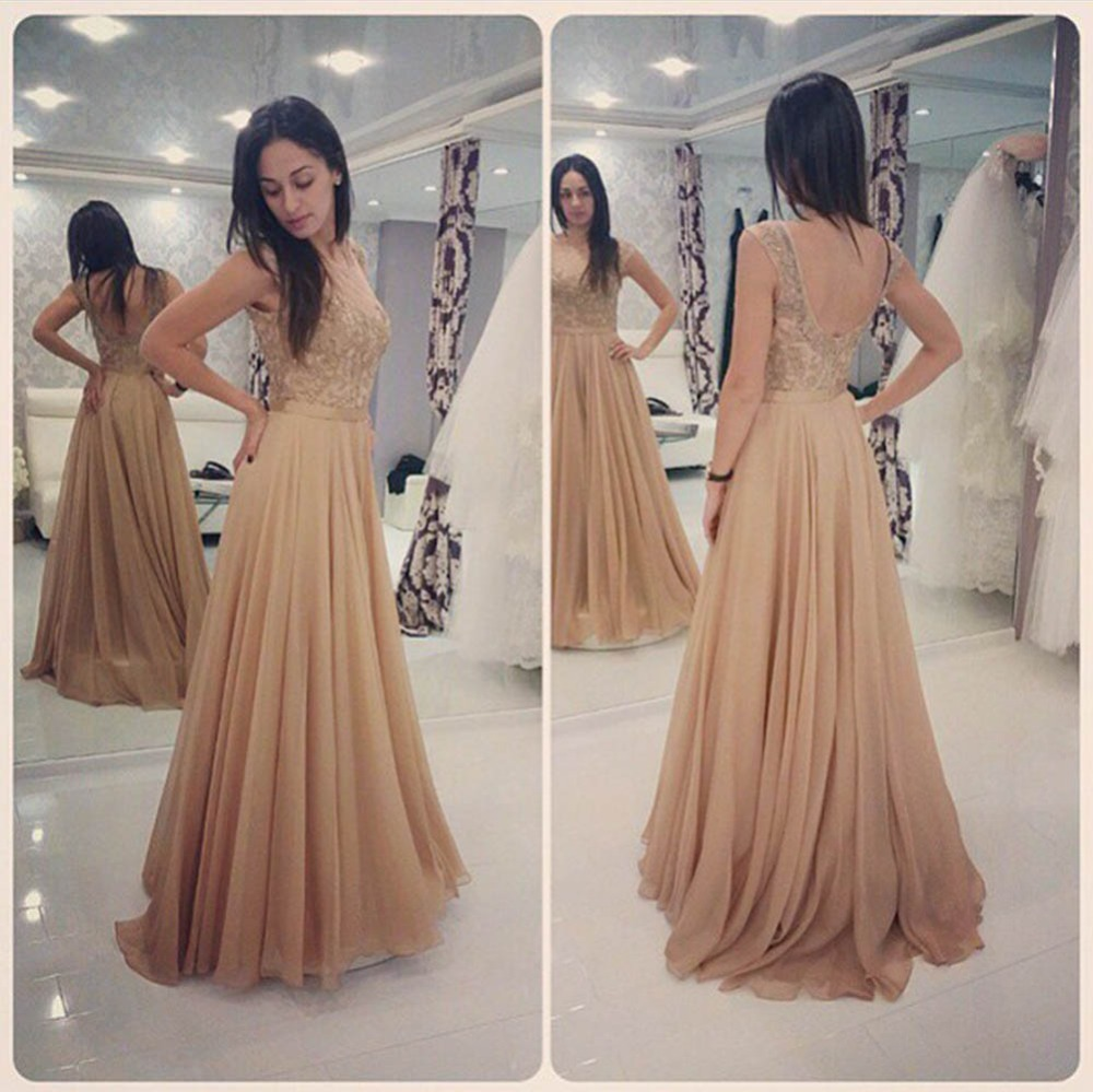 Glamorous Long Champagne Lace Prom Dresses Party Evening Gown Beaded Chiffon Appliques...
