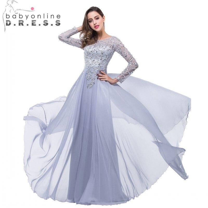 Vestido Longo Azul Luxury Beaded Long Sleeve Evening Dress 2017 Sexy Sheer Boat Neck Chiffon Prom Dresses Robe de Soiree
