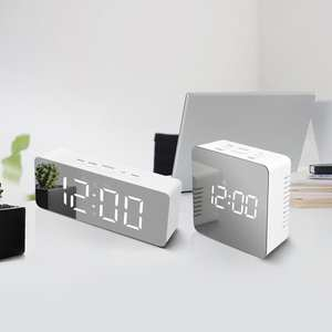 Alarm-Clock Led-Mirror-Light Makeup-Lamp No Temperature-Display Snooze Time Digital Electronic