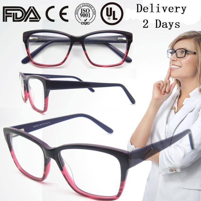 O Envio gratuito de Venda Direta Da Fábrica Mulheres Óculos de Acetato De Última Moda Roxo Quadro Com Dobradiça de Mola Oculares B030251