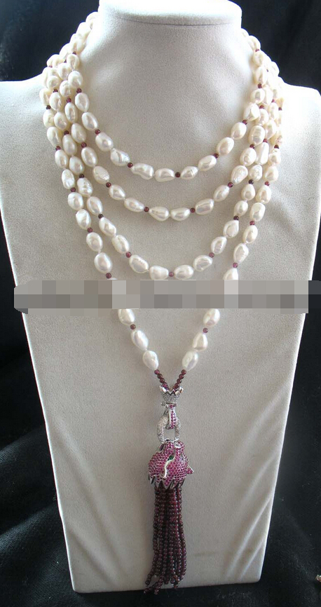 """08149 freshwater pearl & garnet leopard clasp necklace 70"""" nature"""