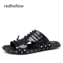 Men's Summer Shoes Cow Leather Slippers Men Summer Beach Sandal Fashion Slip On footwear men leather casual shoes Big Size 38-47 все цены