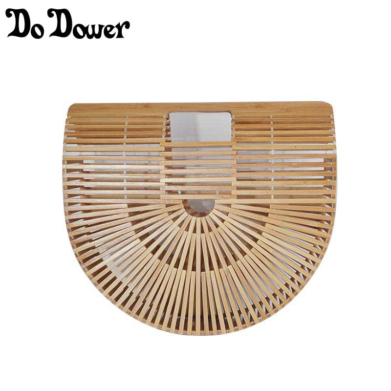 Summer Bamboo Handbag For Ladies Women Half Round Bamboo Bag Handmade Woven Straw Beach Bag Basket Female Tote Bags Wooden Purse